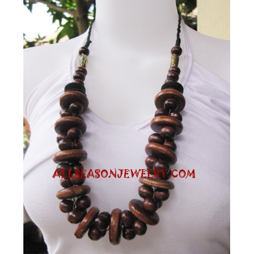 Women Necklace Wood