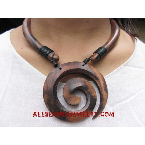 Wood Carved Necklace