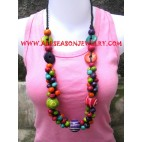 Wood Necklace Colored