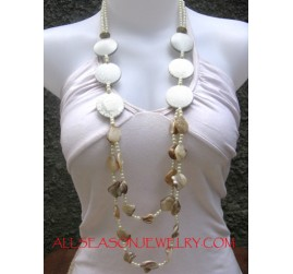 Wood Necklaces with Shell