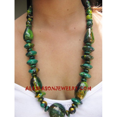 Wood Painted Necklaces