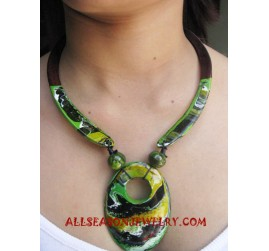 Wooden Painting Necklace