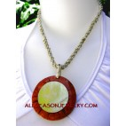 red coral shells pendant