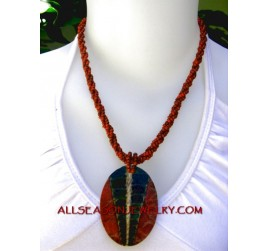 red coral shell pendants