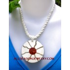red coral seashell pendant
