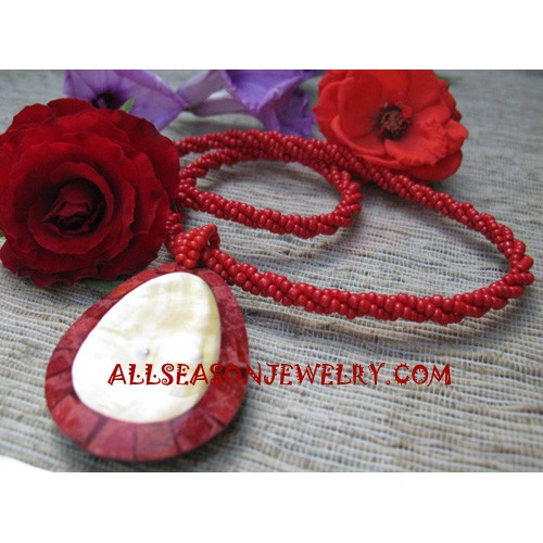 Red Coral Resin Necklace
