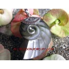 Shell Carving Pendant Silver