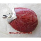 Red Coral Silver Pendants