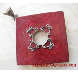 Silver Pendants Red Coral