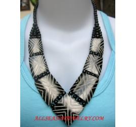 Black Necklaces Bone