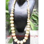 White Wooden Necklaces