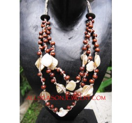 Bead Wooden Shell Necklace