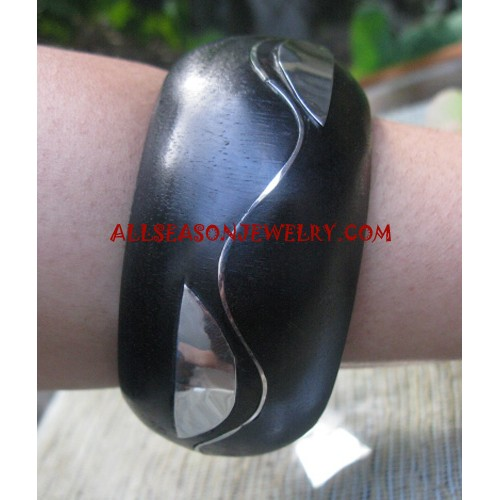 Stainless Bangles Wooden