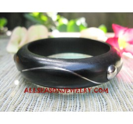 Wood Bangles Stainless