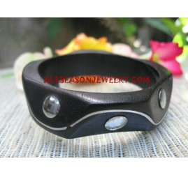 Wooden Bangle Stainless