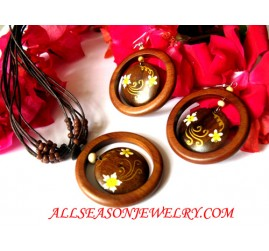Wood Painted Jewels Set