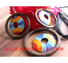 Organic Wooden Hand Painting Necklaces Jewelry Sets Earrings