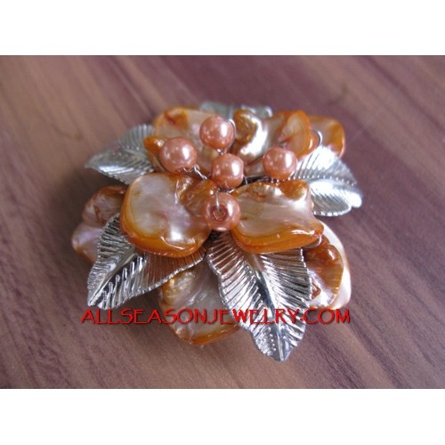 Shells Flower Brooches