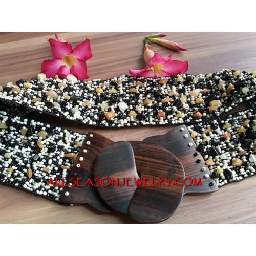 Bead Belts Wood Clasps