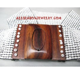 Bead Wood Belt Buckle