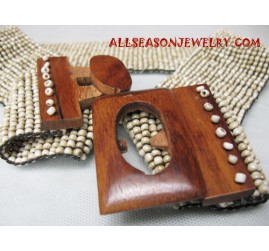 Beads Wooden Buckle Belt