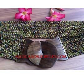 Bead Wooden Buckle Belts
