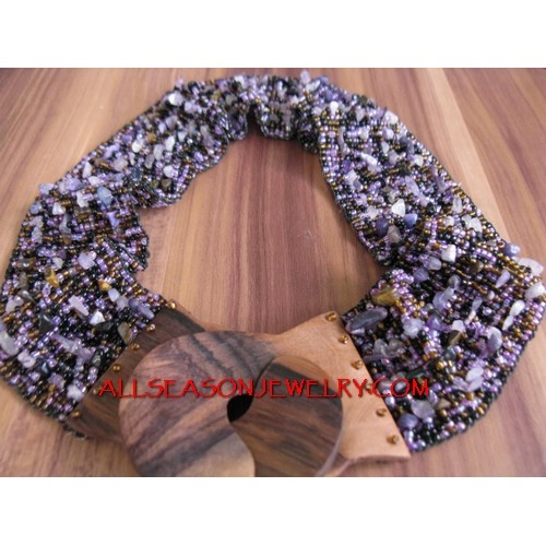 Wood Buckle Beads Belts