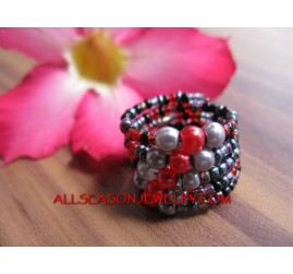 Cuff Beads Ring Fashion