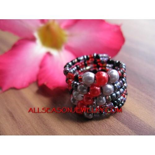 Cuff Beads Ring Fashion