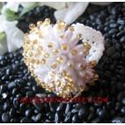 Ring Beaded White Golden