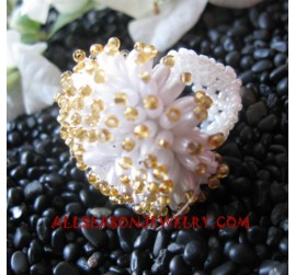 Ring Beaded White Golden