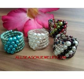 Wire Cuff Beads Ring Women Fashion