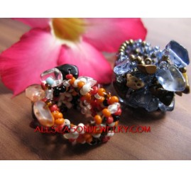 Woman Beads Ring Stone
