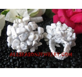 Stones Bead Rings White