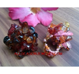 Stones Bead Ring Women