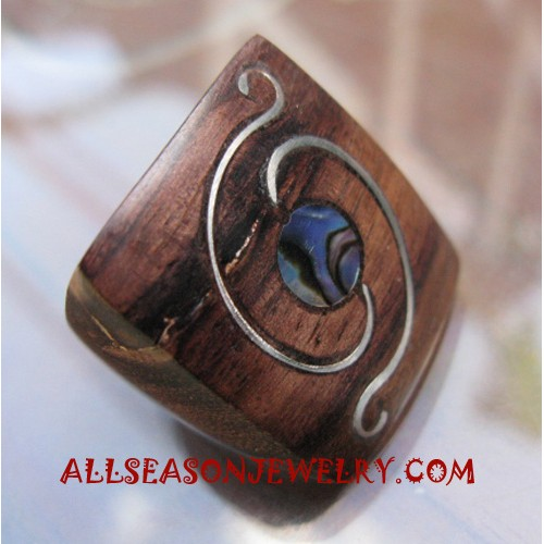 Handmade Unique Finger Rings Wooden with Steel