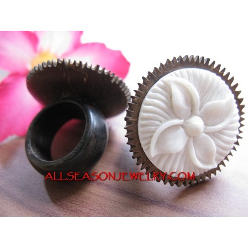 Bone Hand Carving Rings with Wooden Coconut