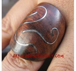 Ladies Wooden Organic Ring with Steel Unique Design
