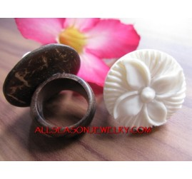Organics Bone Hand Carve Rings with Coco Wood