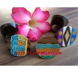 Wooden Hand Painted Rings Bali Design