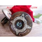 Hand Painting Sea Sand with Wood Rings Ethnic Design