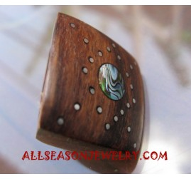 Paua Wooden Finger Rings