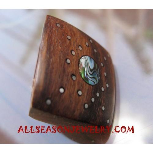 Paua Wooden Finger Rings