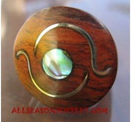 Women Finger Ring Wooden with Stainless Steel Handmade