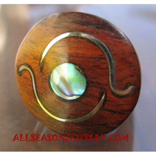 Women Finger Ring Wooden with Stainless Steel Handmade