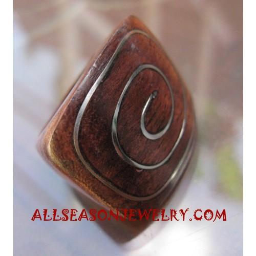 Rings Wooden Motif Spiral