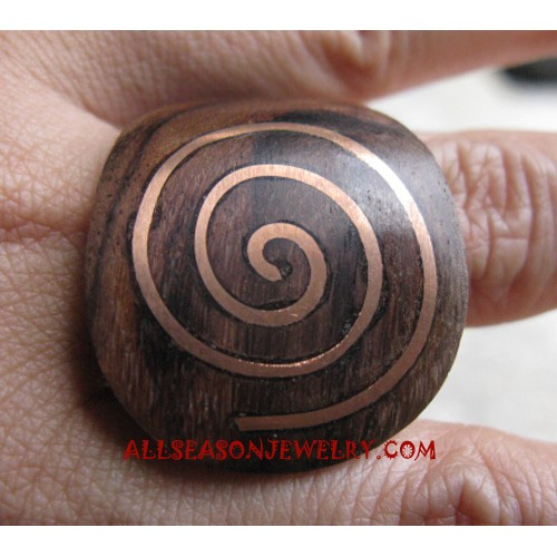 Finger Rings Wooden with Stainless Hand Carved