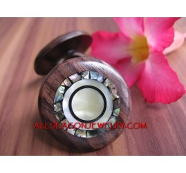 Wooden Ring with Abalone Seashells