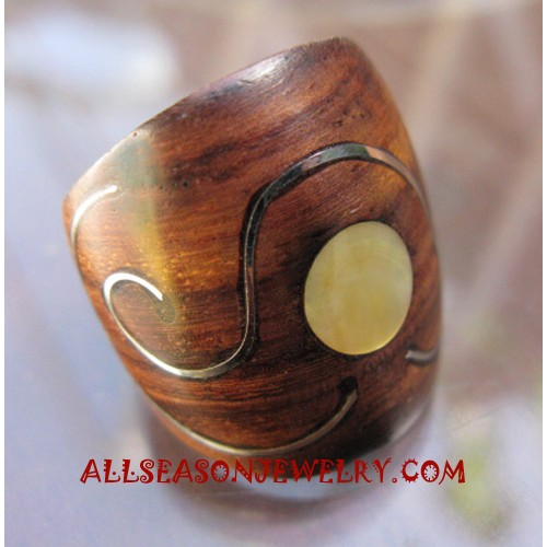 Wooden Hand Carved Ring with SeaShell Steel