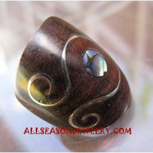 Wooden Rings Paua Shells with Stell Carved